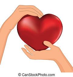 Die Person hat rotes Herz im Handvektor