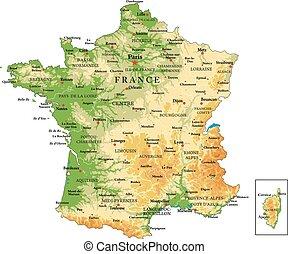 Die physische Karte Frankreichs.