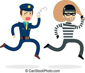Die Polizei jagt Dieb.