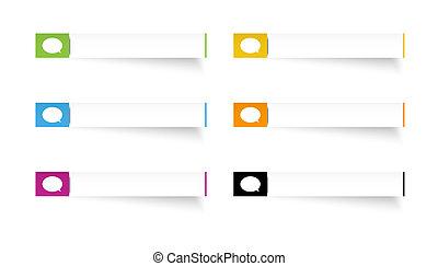 Die Rechteck-Etiketten mit Sprachblasen-Icon.
