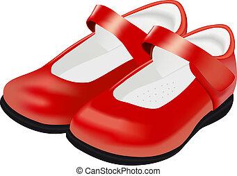 Die roten Schuhe der Vector-Frau für ein Kind im weißen Hintergrund