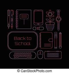 Die Schule liefert Neonfarben