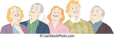 Die Senioren suchen eine Illustration.