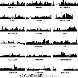 Die Skyline der europäischen Stadt