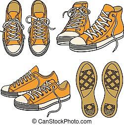 Die Sneakers sind auf weiß isoliert.