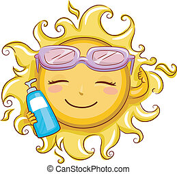 Die Sonne hält eine Sonnencreme