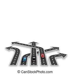 Die Straße mit weißer Markierung, dreidimensional in der Perspektive in Form von Pfeilen mit einem Schatten. Autos. Abstrakt. Illustration