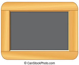 Die Tafel mit Holzrahmen