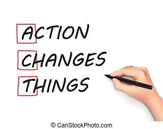 Die Taten ändern die Handschrift.