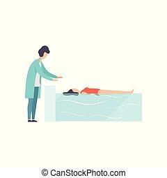 Die Therapeutin arbeitet mit behinderten weiblichen Patienten im Schwimmbad, medizinische Rehabilitation, Physiotherapie Aktivität Vektor Illustration.