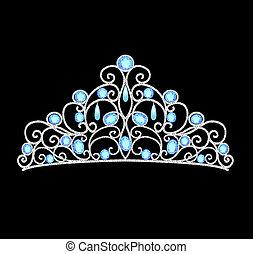 Die Tiara-Kronen-Hochzeit mit blauen Steinen und Perlen.