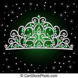 Die Tiara-Kronen Hochzeit mit grünen Steinen und Sternen.
