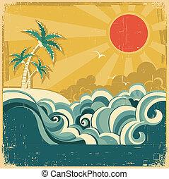 Die tropische Landschaft mit Palmen und Vektor-Poster für Design