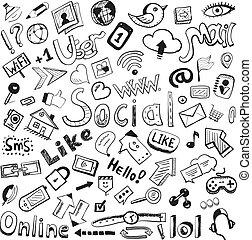Die Vektorhand zeichnete Ikonen: großes Set moderner sozialer Zeichnungen
