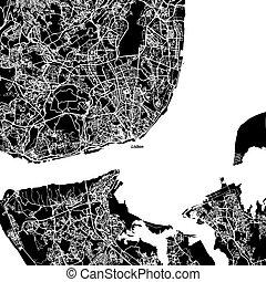 Die Vektorkarte von Lissabon