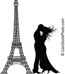 Die Vektorromanze Paris Silhouette