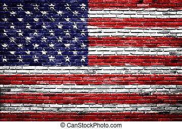 Die Vereinigten Staaten der Amerika-Flagge, die auf alte Mauern gemalt wurde