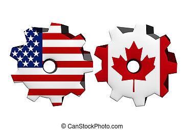 Die Vereinigten Staaten von Amerika und Kanada arbeiten zusammen.