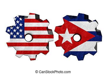 Die Vereinigten Staaten von Amerika und Kuba arbeiten zusammen.
