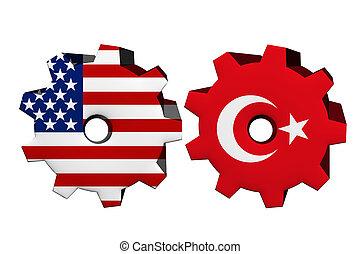 Die Vereinigten Staaten von Amerika und Truthahn arbeiten zusammen.