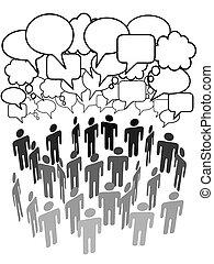 Die Volksgruppe spricht über soziale Netzwerke