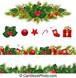 Die Weihnachtsgrenzen sind mit fremden Garland festgelegt