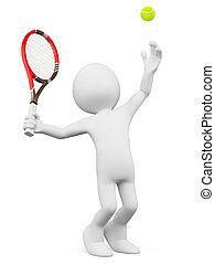 dienst, leute., tennisspieler, weißes, 3d