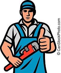 dienstleistungen, auf, besitz, klempner, maulschlüssel, ausstellung, design), (plumbing, daumen