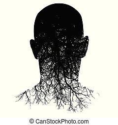 Diese Silhouette des Kopfes verwandelt sich in Wurzeln.