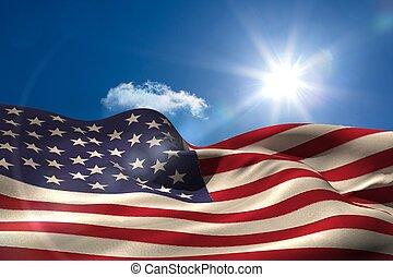 Digital generierte amerikanische Flagge Rippling.