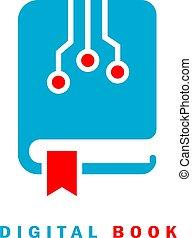 digital, ikone, begriff, e-lernen, e-book