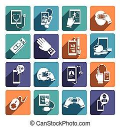 Digitale Gesundheits-Icons eingestellt.