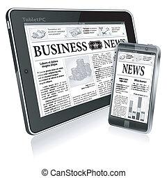 Digitales Nachrichtenkonzept mit Geschäftszeitung auf der Tafel PC und Smartphone, Vektor