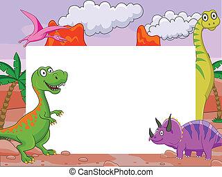 Dinosaurier und leeres Zeichen.