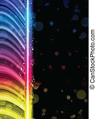 Disco abstrakte, bunte Wellen auf schwarzem Hintergrund.