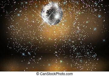 Discoball mit Licht und Konfetti-Party Hintergrund