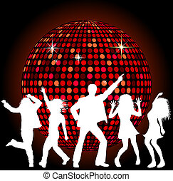 discokugel, tanzende menschen