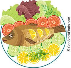 Dish mit dem gebackenen Fisch