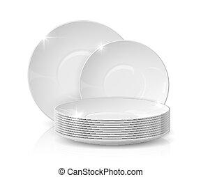 dishware, geschirr, tafelgeschirr, weißes, vektor, keramisch, mockup, schüsseln, kueche , 3d, freigestellt, platten, dishes., white., realistisch, stapel