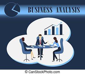 diskussion, analytics, vektor, illustration geschäft, analyse