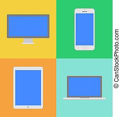 Display, Laptop, Tablet-Computer und Handy-Templates mit blauem Bildschirm