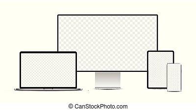 display., laptop, tablette, devices:, elektronisch, satz, realistisch, silber, smartphone