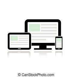 Display, Tablet-Computer und Handy.