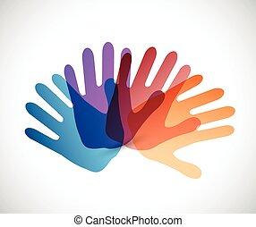 Diversity Color Hände Illustration Design.