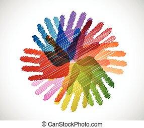 Diversity-Hände kritzeln.