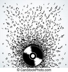 DJ-Musiknoten spritzen Schallplatten
