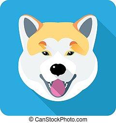 Dog Akita Inu Japanische Rasse Ikonen flach Design.