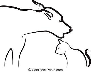 Dog and Cat, Line Art, Vektor.