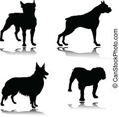 Dog Black Vektor Silhouettes