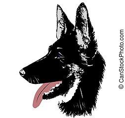 Dog German Shepherd Logo Kopf für Vektor Illustration.